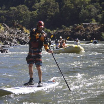 Sup paddler auf der tour durch wildwasser
