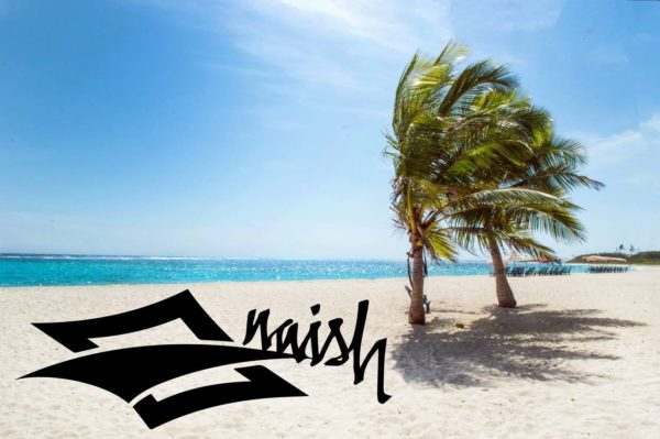 Naish Logo am Strand von Hawaii